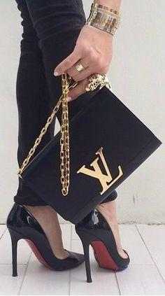 LOUIS VUITTON handbag and Louboutin pumps