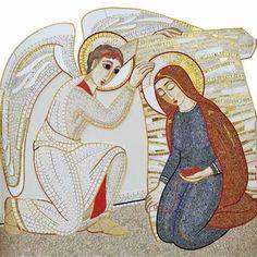 Amazing Rupnik mosiac. I Love You Mother, Mother Mary, Religious Icons, Religious Art, Mosaic Portrait, Archangel Gabriel, Byzantine Icons, Art Thou, Christmas Banners