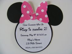 Minnie Mouse Head Birthday Invitations