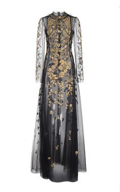 High Neck Full Sleeve Embroidered Gown by Oscar de la Renta Beautiful Gowns, Beautiful Outfits, Pretty Outfits, Pretty Dresses, Cooler Look, Fantasy Dress, Event Dresses, Mode Style, Dream Dress
