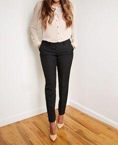 İş Elbiseleri Siyah Dar Paça Pantlon Pudra Gömlek