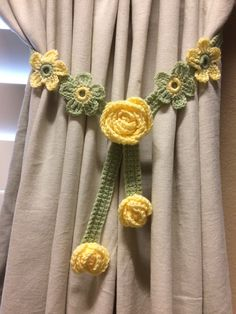 Crochet Curtian Tiebacks - yellow flower sage green band (1 pair) by JinesCrafts on Etsy