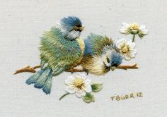 "Miniature Embroidery Kit:  Bluebirds and Daisies.  Measures 6cm x7cm  (2.4"" x 2.6"")"