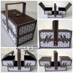 paper sewing box - bjl No tutorial/pattern, but should be easy enough to make. The next day's post shows what she's put inside 3d Paper Crafts, Cardboard Crafts, Diy And Crafts, Creative Box, Cute Box, Altered Boxes, Sewing Box, Craft Box, Paper Folding