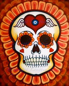 Custom Sugar Skull Painting by theartoflaughinannie on Etsy