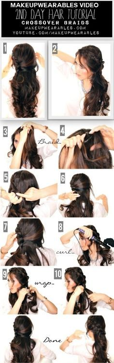 Cute Braided Half-Updo Tutorial Video | Curly Long Hairstyles