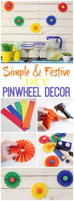 Simple Pinwheel Garland for Party Décor {Cinco de Mayo DIY Décor Idea Great tutorial for these easy DIY pinwheels – they are so cute and festive and perfect for any party decor Carnival Decorations, Carnival Themes, Birthday Party Decorations, Party Themes, Party Ideas, Pinwheel Decorations, Festival Decorations, Diy Décoration, Easy Diy