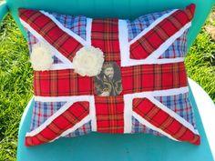 Union Jack machine stitched pillow 17 x 15-handmade $30.00