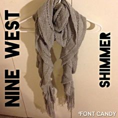 This pretty sparkly silver scarf is the perfect holiday addition! ❄️Scarf features a pretty knitted pattern with silver metallic streamers that cascade in draping ruffles that end in fringe. 1/2 tf