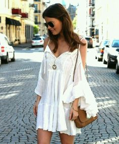 white hippie cold shoulder dress