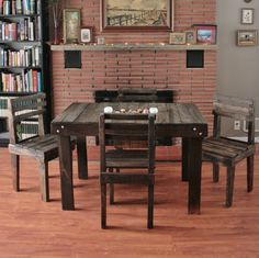 Pallet Wood Dining Room Table Set by Upcycled Woodworks