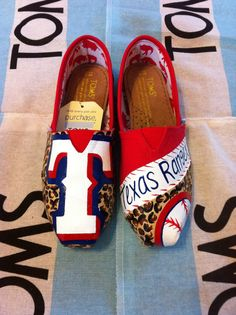 Custom Hand Painted Texas Rangers Toms by BekasBargains on Etsy, $130.00