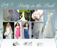 Day 23 Pretty In The Park Wedding. The Purple Pansy www.purplepansy.ca You're Invited www.youre-invited.ca Enchantment Bridal www.enchantmentbr... Picture of You're Invited Invitations Enchantment Bridal Dresses & The Purple Pansy Floral Arrangements