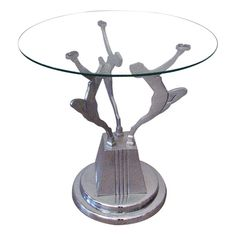 Vintage Art Deco Figural Side Table in the Frankart Style - $775.