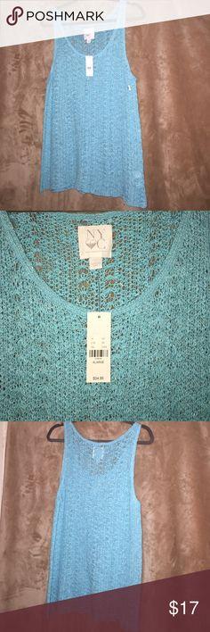 NY & Co. Light Blue knit/crochet Tank Top NY & Co. Light Blue knit/crochet Tank Top. Brand New. Never Worn. XL ❤️ New York & Company Tops Tank Tops