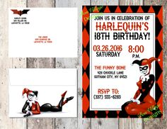 Harley Quinn Invitation Birthday Baby Shower DC Comics Digital Copy Or Prints With Envelopes For