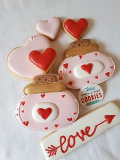 Love Potion. Valentines Day cookies in red and pink using an inverted skull cookie cutter.