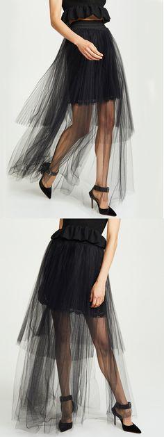 303520bcd5 Black High Waist Women Sheer Mesh Maxi Skirt Maxi Skirts Online, Latest  Fashion For Women