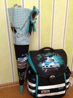 Schultüten - Schultüte Stoff Polizei individualisierbar türkis - ein Designerstück von Crenaehtive bei DaWanda