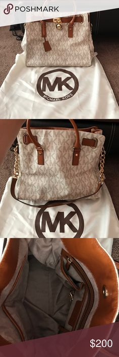 "Hamilton large logo tote This authentic Michael kors bag is in mint condition! No flaws. I used it maybe twice and then it was kept in the dust bag. -Two Top Handles Leather Shoulder Strap -Interior Zip Pocket, Interior Cell Phone Pocket, Two Interior Pouch Pockets,  Working Lock and Key -14"" x 13"" x 6.25"" -Magnetic Fastening.. no trades. Any questions please ask KORS Michael Kors Bags Totes"
