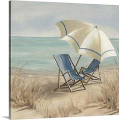 Carol Robinson Premium Thick-Wrap Canvas Wall Art Print entitled Summer Vacation II, None Pictures To Paint, Beach Pictures, Beach Canvas Wall Art, Canvas Artwork, Beach Canvas Paintings, Beach Artwork, Big Canvas, Framed Canvas, House By The Sea