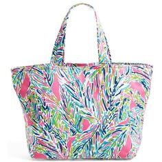Lilly Pulitzer Print Canvas Beach Tote ($88) ❤ liked on Polyvore featuring bags, handbags, tote bags, purses, multi palm reader accesso, lilly pulitzer tote bag, white tote, white canvas tote, travel tote bags and summer totes