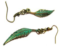 Patina Feather Earrings by LunaEssence on Etsy