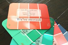 DIY Paint Chip Address Cards. Yeah...I need to send real cards out to tell people our new address.