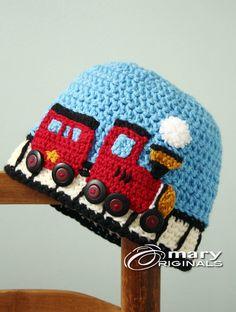 Train Hat Choo Choo Train Hat Crochet Beanie by MaryOriginals