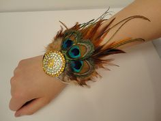 Hart Peacock Feather Bracelet by MyFeatherband on Etsy, $52.00