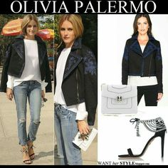 WHAT SHE WORE: Olivia wore gorgeous embroidered black and blue jacket by Marchesa for Shopstyle, white blouse, boyfriend jeans, white Bulgary clutch and black embellished sandals that she designed for Aquazzura