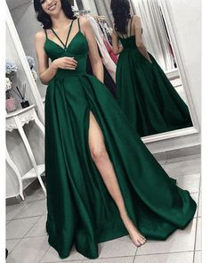Green formal dresses - 2019 prom dress Hunter Green Long Evening Gown with Slit – Green formal dresses Dark Green Prom Dresses, Cute Prom Dresses, Grad Dresses, Elegant Dresses, Pretty Dresses, Long Gown Elegant, Dresses Dresses, Dance Dresses, Homecoming Dresses