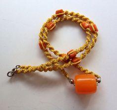 Macrame necklace, Tibet inspired necklace, ethnic, tribal, Tibetan amber, yellow orange