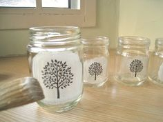How to Print on Glass Jars.......... Print-making art has been around for a long long time, and it's versatile, easy and fun. There are various ways to make a print ie. stamps, linoleum blocks, wooden blocks, and even potatoes (remember that primary school art project?)  In this post, I will show you how to decorate your unused, unwanted glass jars and bottles.
