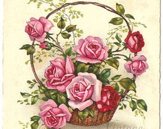 Pink and Red Roses French Postcard Post Card from Vintage Paper Attic Images Vintage, Art Vintage, Vintage Design, Vintage Cards, Vintage Paper, Vintage Postcards, Rose Pictures, Pictures To Paint, Art Floral