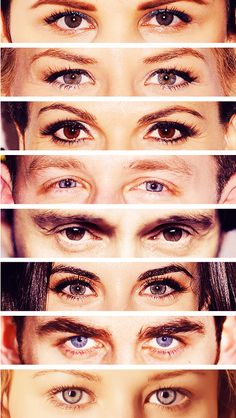 Snow, Emma, Regina, Charming, Rumple, Red, Hook, Belle (woah! You can tell who they all are just by seeing their eyes! O_O)