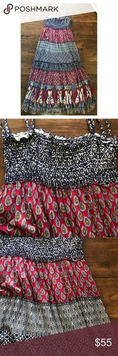 Cache Cotton Print Tiered Spaghetti Strap Dress Cache Tiered Spaghetti Strap Maxi Dress  Size M  Bust 30 and Dress Length 53  100% Cotton  Hand Washable and Dry Flat Cache Dresses Maxi