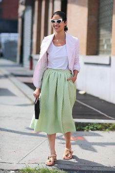 Pastel colours for Spring. Street Style: New York Fashion Week Street Style Spring 2014