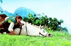 tangled flynn and maximus gif