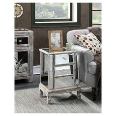 Gold Coast Vineyards 3 Drawer Mirrored End Table Weathered White Medium Convenience Concepts, Grey