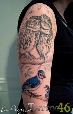 Kat's half sleeve tattoo with some cool birds