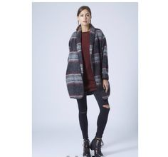 Red long tunic ripped jeans coatigan