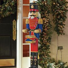 "Nutcracker Drummer -- Like a toy soldier come to life, our remote-controlled 5-foot Nutcracker Drummer stands ready to entertain. Just press the ""music"" button and 19 multi-colored ..."