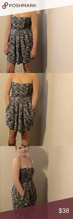 Free People Strapless Nyima Tweed Dress Small Free People Strapless Nyima Puff Hip Tweed Dress Size 4 Free People Dresses Strapless