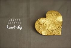 Gilded Leather Heart Clip | Oleander & Palm