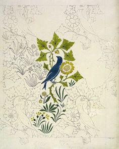 Textile, wallpaper design, Charles Voysey 1891 #floral #fabric #patterns #boho #vintage #shopping Visit JDzigner at https://jdzigner.etsy.com