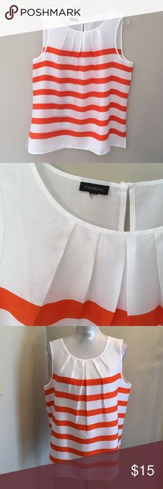 "Talbots Orange & White Striped Tank Top XL This was worn once. Lost size tag. Pleas compare measurements with dying your closet. Underarm to underarm measures 23"" inches. From back of neck to hem is 25.75"" inches. This is a see Thru tank. Great for layering Talbots Tops Tank Tops"