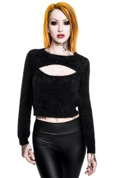 Black Out Fuzzy Sweater [B]