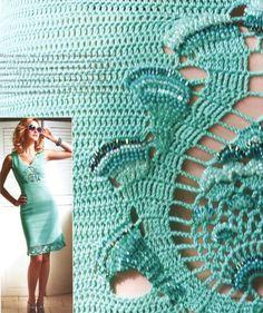 Crochet dress. Free pattern. Irish Crochet