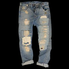 tenuedenimes:  Worn in RRL denim with patchwork